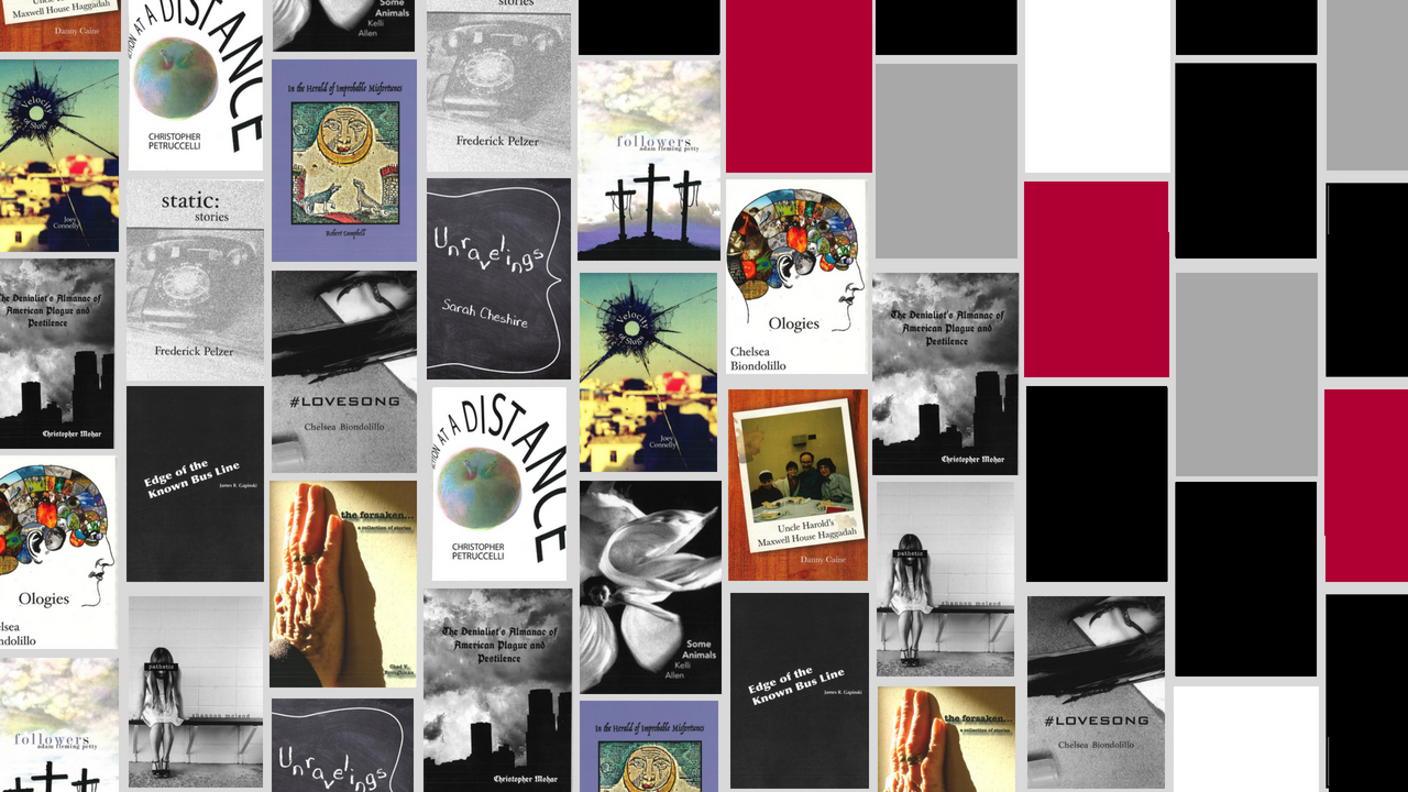Collage of Etchings Press Book Covers and Red, Black, White, and Grey Rectangles