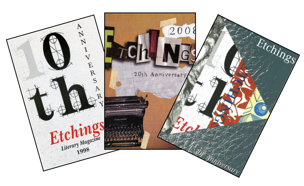 Collage of Etchings Magazine covers, including issues 10, 20, and 30.1
