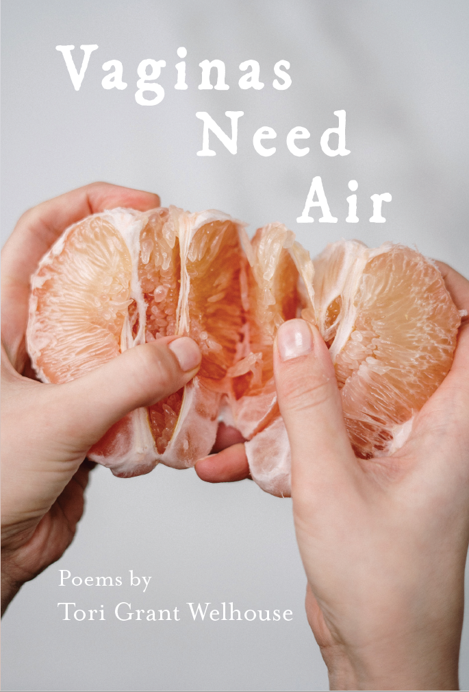 Hands breaking open peeled grapefruit