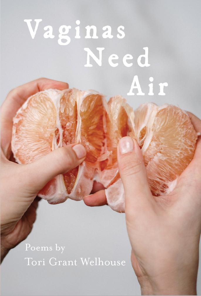 Hands breaking open peeled grapefruit
