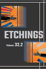 Cover of Etchings 32.2: black background and two orange squares with hands reaching towards each other